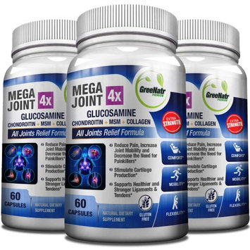 Greenatr Megajoint 4X Quadruple Joint Relief Formula - Daily Glucosamine, Chondroitin, MSM, and Collagen Pill