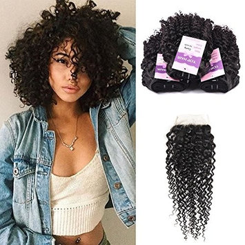 Brazilian Virgin Curly Hair Weft 3 Bundles with Lace Closure Free Part 4×4 100% Unprocessed Human Hair Extensions Natural Color(12