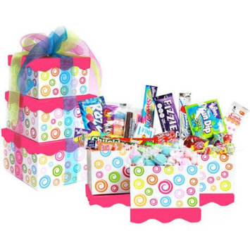 Candy Crate Pink Swirl Retro Candy Filled Candy Gift Tower