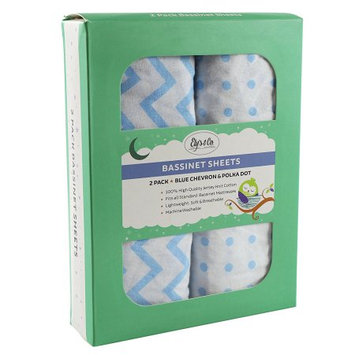 Ely's & Co Blue & White Chevron & Polka Dot Bassinet Sheet Set