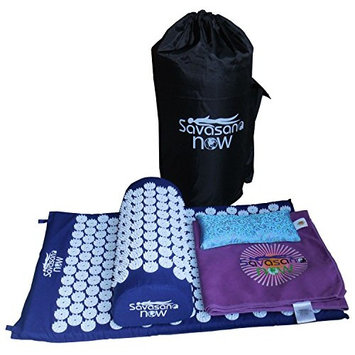 ACUPRESSURE TOOLS SET: Acupressure Mat & Pillow, Eye Pillow, Towel, Carry Bag. Relieve back pain, neck pain. Stimulate trigger points, headache reliever, sleep aid & stress...