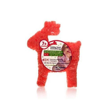 Spongeables Shower Gel in a Sponge (Red Reindeer) 7+ Uses Holiday Scent Aromatherapy