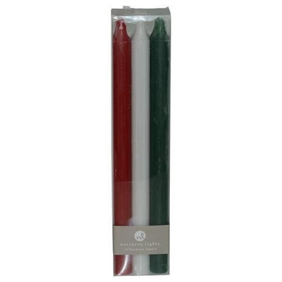 Tapers Mistletoe Six Tapers, Each 12 Inches Long. Colors Are Crimson, White & Hunter Green. Tapers Are Fragrance Free, S