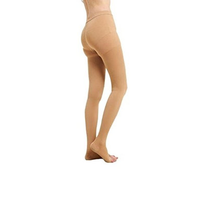 BriteLeafs Opaque Compression Stockings Pantyhose Therapeutic Firm Support 20-30 mmHg, Open Toe - Large, Beige
