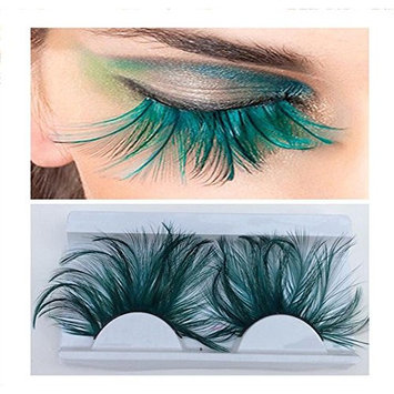 1 Pair Green Exaggerated Bushy Long Feather Lashes Flake False Eyelash Extension For Stage Costume Ball/Party Halloween