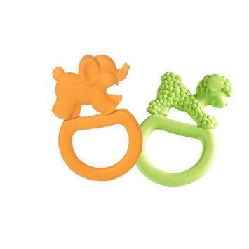 Vulli 2 Pack Vanilla Teething Rings - Orange Elephant/ Green Lamb
