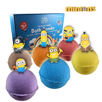 Organic Handmade Bath Bombs with MINIONS TOYS INSIDE for Kids – Natural and Safe Bombs with Essential Oils – with Toys Inside – Great Gift Set for Boys and Girls – 6 x 5 OZ