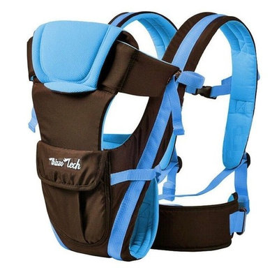 Comfortable Newborn Infant Baby Carrier Backpack Baby Wrap Rider Sling 4 Position Adjustable -Blue