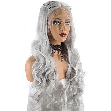 Anogol Hair Cap+Synthetic Gray Braided Lace Front Wig With Baby Hair Long Wavy Wigs Middle Part Hairstyles For Princess
