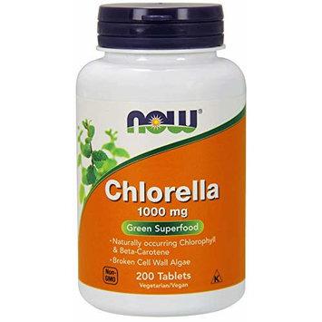 Now Chlorella Tablets,1000mg, 200 Tabs - Premium, Non-GMO Microalgae - Green Superfood Supplement