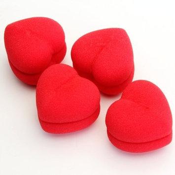 TOOGOO(R) 4pcs Soft Sponge DIY Hair Care Curler Roller Balls Red Heart-Shaped