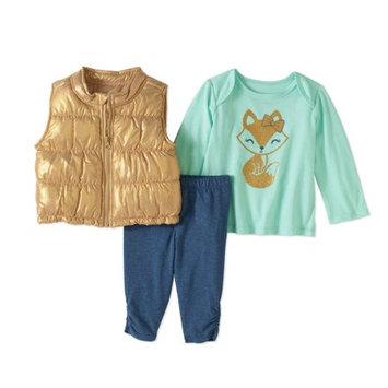 Healthtex Newborn Baby Girl Foil Puffer Vest, Top, and Leggings 3pc Set