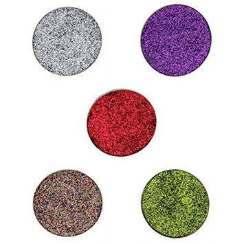 MagiDeal 5 Shades Diamond Glitter Shimmer Sparkling Makeup Eyeshadow Pigment Pressed Powder Set Kit Silver Multi Red Green Purple