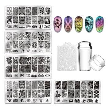 Biutee 5pcs Nail Stamping Plates + 1 Stamper + 1 Scraper Lace Flower Animal Pattern Nail Art Stamp Stamping Template Image Plate Nail Art Stamper Scraper Nails Tool [5pcs]