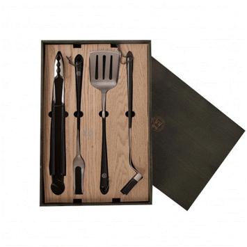 Schmidt Bros. Schmidt Brothers Carbon 6 4-Pc. Grill Set with Wood Tray Gift Box