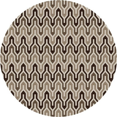 8' Krokev White and Brown Hand Woven Wool Round Reversible Area Throw Rug