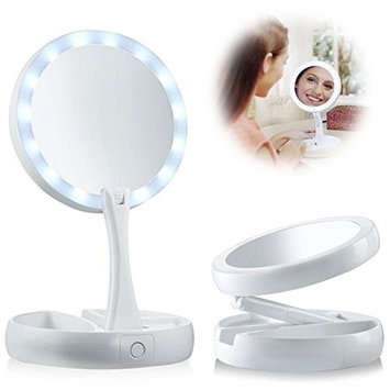 PiggiesC Double-Sided LED Lighted Foldable Vanity 1X/10X Magnifying Makeup Mirror