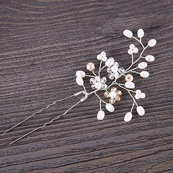 Awhao Women Comb Bride Headdress U Shaped Crystal Hairpin Accessories
