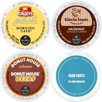 Faro Roasting Houses Coffee 96 count K-Cup Variety Pack- Gloria Jean's Hazelnut, Faro Forte Medium Roast, Folgers Morning Cafe, and Donut House Decaf