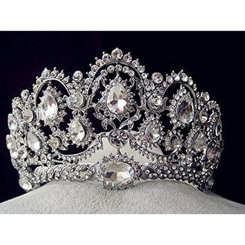 Crystal Diamond Bride Bridal Wedding Hair Head Band Wear Pearl Rhinestone Jewelry Headdress Headband Tiara Coronal Big Crown by Carinloing