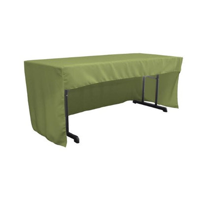 LA Linen TCpop-OB-fit-72x30x30-SageDrkP39 1.95 lbs Open Back Polyester Poplin Fitted Tablecloth Dark Sage