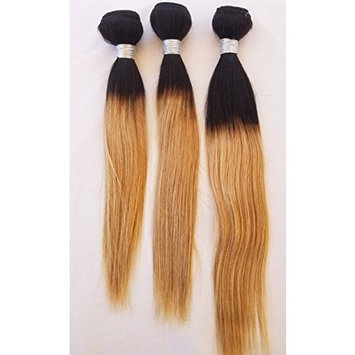 14″,16″,18″ 300g, Virgin Unprocessed Ombre Weft Hair,Weft Weaving (Without Clips),100% Human Hair Extensions, 9A Indian Straight #T1B/27