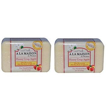 A La Maison de Provence Honey Crisp Apple Soap (Pack of 2) With Shea Butter, Argan Oil and Coconut Oil, 8.8 oz Each