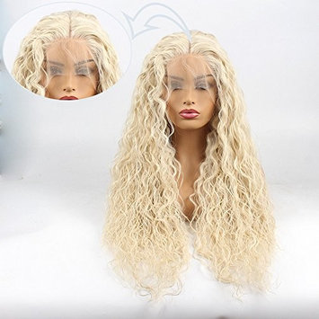 Life Diaries NO TANGLE Kanekalon Long Curly High Density Heat Resistant Fiber Bleached Knot Glueless Large Part Space Transparent Lace Front Synthetic Wig For White Or Pale Scalp blonde 24 inch []