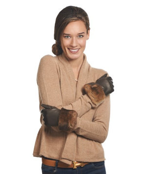 Fratelli Orsini Women's Italian Orylag Rabbit Fur Cuff Cashmere Lined Winter Leather Gloves Size 8 Color Brown