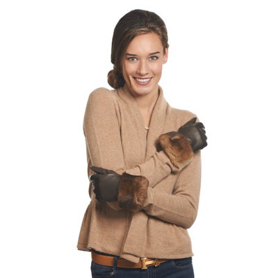 Women's Italian Orylag Rabbit Fur Cuff Cashmere Lined Winter Leather Gloves