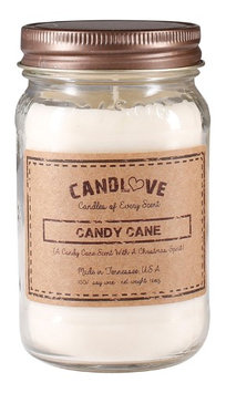 Candlove Candy Cane Scented 16oz Mason Jar Candle 100% Soy Made In The USA