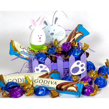 Easter basket includes Godiva candy and chocolate bars. contains 2 Chocolate bars, chocolate creme bars. Also includes chocolate candy truffles. In a...