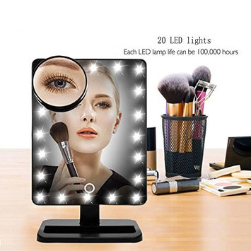 LED Lighted Makeup Mirror, Aooher 12 Inch Large Screen Touch Dimmable and Memory Function LED Lighted Illuminated Movable Vanity Mirror with 10X Magnification Mirror
