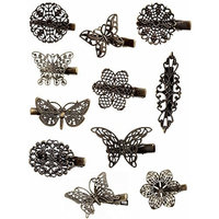 ORYOUGO 11 Pieces Vintage Hair Clips,Butterfly Flower Hairpins Hair Barrettes Bobby Pin Clamps Ornament for Girls and Women Hair Styling,Bronze