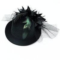 HUELE Women's Flower Hair Clip Fascinator Feather Burlesque Punk Mini Hat- Black