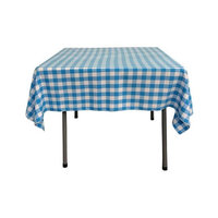 LA Linen TCcheck58x58-TurquoiseK40 Polyester Gingham Checkered Square Tablecloth, White & Turquoise - 58 x 58 in.