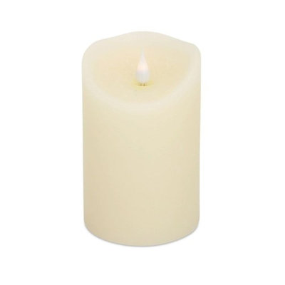 Melrose Pack of 4 Decorative Designer Simplux LED Cream Candle with Flame 5.5'