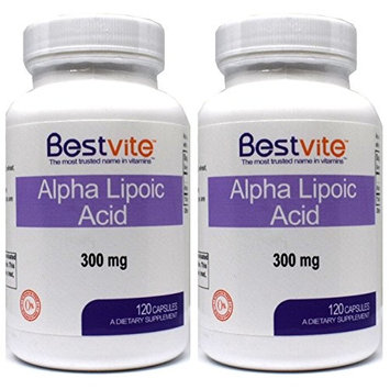 Alpha Lipoic Acid 300mg (240 Capsules) (2-Pack) No Stearate - No Flow Agents