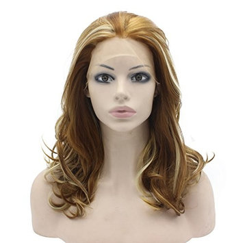 Mxangel Medium Long Wavy Blonde Highlight Synthetic Lace Front Wig Natural