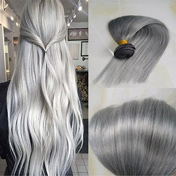 HairDancing Grey Human Hair Silky Straight 100% Malaysian Virgin Human Hair Weft 22inch Silver Grey 100g One Bundle []