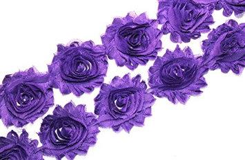 (28 pieces) JLIKA Purple Shabby Chiffon Fabric Flowers 2.5' Shabby Rose Trim 2 Yards (Pack of 50)