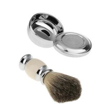 MagiDeal Men Beard Hair Wood Shaving Brush + Stainless Steel Shave Soap Mug Bowl Cup Holder with Lid Professional Barber Set