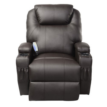 Costway Ergonomic Deluxe Massage Sofa Chair Lounge Executive Heated w/ Control Brown