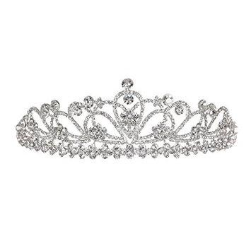 Flower Ribbon Rhinestone Crystal Prom Bridal Wedding Tiara Crown T1068
