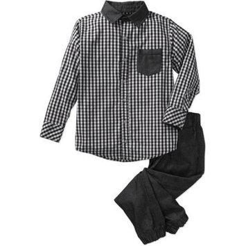 Blac Label Big Boys 2 Piece Yarn-Dye Long Sleeve Woven Shirt & Chambray Jogger Set