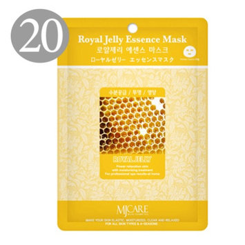 The Elixir Beauty Nature Premium Essence Facial Mask Pack Sheet 23g, Royal Jelly Mask Sheet Korean Cosmetic (20 Packs) (Pack of 20)