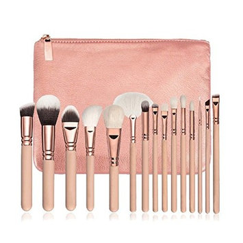 15 Pics Pink Makeup Brushes Set - Foundation Brushes, Cosmetic Brushes, Professional Brushes for Face Make-up, Contour Brushes, Concealer Brushes, Lip brushes, Eye Shadow Brushes with Travel Pouch