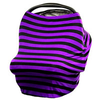 JLIKA Stretchy Infant Canopy Baby Car Seat Covers and Nursing Cover Best Gift Maternity Apron Infinity Scarf Stripes Print Summer girl boy 360 coverage fits all newborn carseats Purple Black Stripe