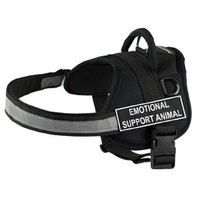DT Works Harness, Emotional Support Animal, Black/White, Small - Fits Girth Size: 25-Inch to 34-Inch