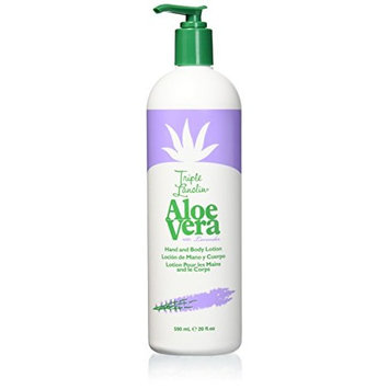 TRIPLE LANOLIN Aloe Vera Lotion with Lavender, 20 Ounce (Pack of 12)